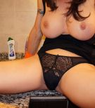 Busty TS Mariana Cordoba jerking off massive shemale penis in gloves
