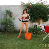 Sexy shemale babe Mariana Cordoba flaunting large trans tits and cock outdoors
