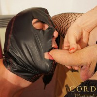 Hung shemale Mariana Cordoba face fucking a masked man