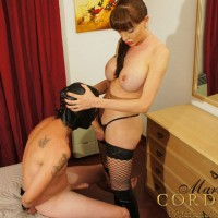 Hung and busty shemale Mariana Cordoba giving and receiving oral sex with man