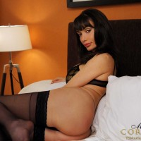 A very hung Shemale in black lingerie and suggestive stockings