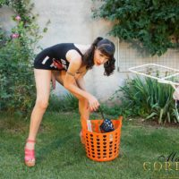 Dark-haired Tgirl model Mariana Cordoba flashing giant wood in back yard
