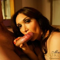 Lucky gentleman sucks the big Cock of Tgirl Mariana Cordoaba