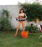 More free pics of Mariana Cordoba being naughty while doing outdoor laundry