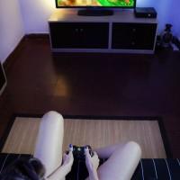 Big boobed Latina TS Mariana Cordoba flashing huge dick while playing games