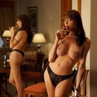 Beautiful TS solo model Mariana Cordoba releasing big tit from sexy dress