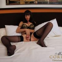 Leggy brunette tranny Mariana Cordoba jerking off hung dick in nylons