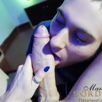 Hung shemale Mariana Cordoba getting a blowjob from man while gaming