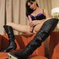 Mariana Cordoba jerking off massive shecock in knee high boots