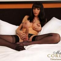 Nylon attired TS webcam model Mariana Cordoba masturbating hung shecock