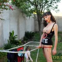 Hot Latina tranny Mariana Cordoba flashing big boobs and hung shecock outdoors