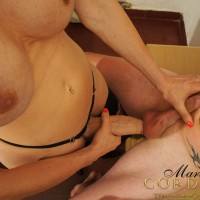 Masked man is forced to suck the hung shedick of TS Mariana Cordoba