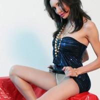 Beautiful tranny Mariana Cordoba flashing white panties under black dress