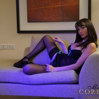 Hung shemale Mariana Cordoba whipping out massive shecock in pantyhose