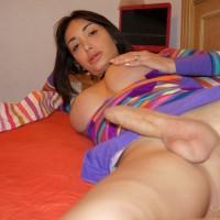 Cute shemale in socks Mariana Cordoba jerking massive penis in bedroom