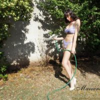 Big-chested black-haired transgirl Mariana Cordoba flashing hung trans meat stick outdoors