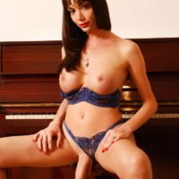 Black-haired solo model Mariana Cordoba letting enormous melons & hung prick loose