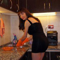 Brown-haired Latina transgirl Mariana Cordoba frigging corn-hole orifice with gloves in kitchen