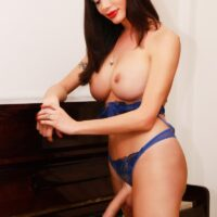 Dark-haired trans solo model Mariana Cordoba letting her monster-sized boobies and big rod free