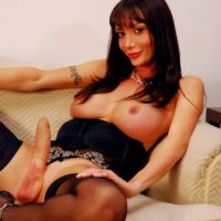 Brunette TRANNY XXX film star Mariana Cordoba letting out immense titties before tossing giant penis