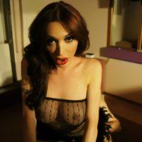 Dark haired Latin transgirl Mariana Cordoba providing & taking blowjob with bf