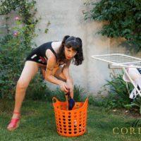 Dark-haired Tgirl model Mariana Cordoba flashing giant wood in back yard