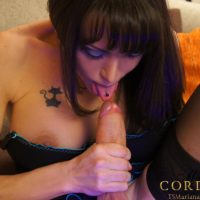 Dark-haired Tgirl model Mariana Cordoba licking own cock with pierced tongue in hose