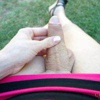 Nasty tranny Mariana Cordoba drains her huge prick in the backyard