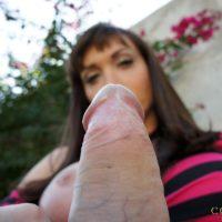 Nasty transgirl Mariana Cordoba wanks off her monster-sized junk in the backyard