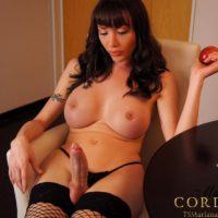 Huge-boobed dark haired Latina transgirl Mariana Cordoba unleashing large sausage from undies