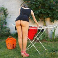 Huge-titted Latina transgirl Mariana Cordoba showcasing humungous wood outdoors in back yard