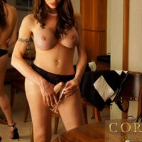 Tall Tgirl pornostar Mariana Cordoba tossing off her hefty tranny meat stick in pumps