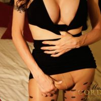 Sexy black-haired TRANSSEXUAL Mariana Cordoba whacking off in crotchless hose