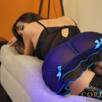 Solo black-haired Tgirl Mariana Cordoba touting tremendous knob in hosiery and lingerie