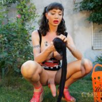 Solo trans chick Mariana Cordoba lets her monster-seized wood dangle free while out in the backyard