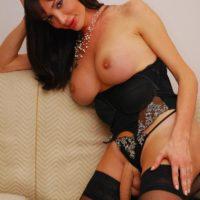 Stocking and high heel clad ts X-rated star Mariana Cordoba showcasing massive rod