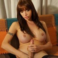 TGIRL Mariana Cordoba watching Tgirl Porn and Wanking Off